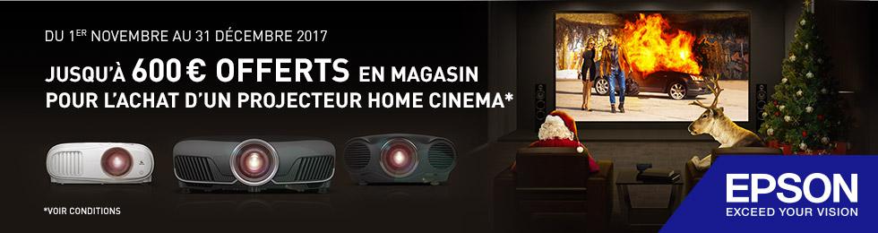 Offre vidéoprojecteurs Epson : jusqu'à 600€ offerts en bon d'achat