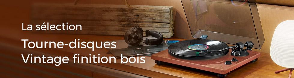 Tournes disques vintage en finition bois