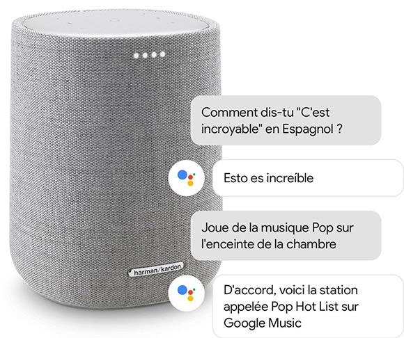 Illustration de l'Harman Kardon Citation One avec Google Assistant. Des bulles représentent un dialogue que l'utilisateur peut avoir avec Google Assistant (demande de traduction d'une phrase en espagnol et demande de diffuser une playlist Pop).