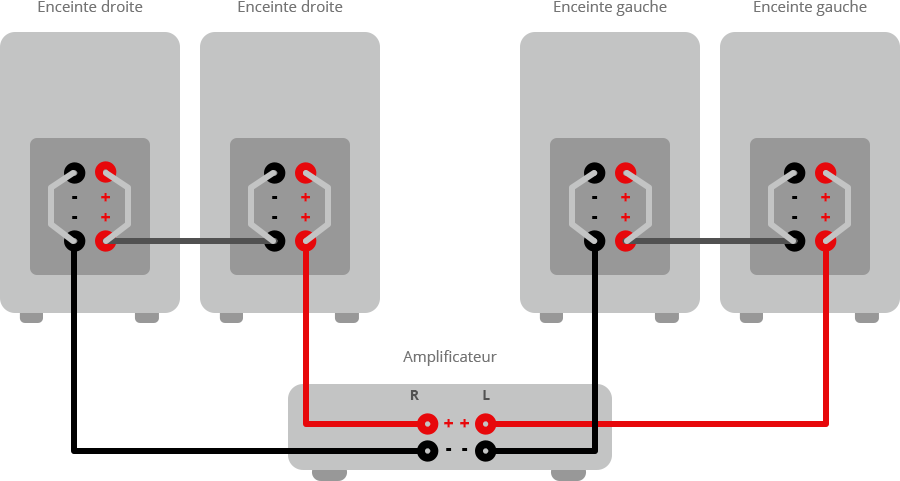 Branchement en série avec borniers de bi-amplification.