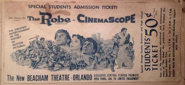 Ticket de cinéma numérisé du film La Tunique