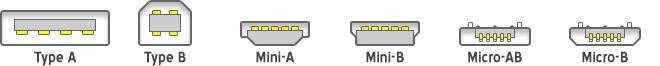 Les types de connecteurs USB.