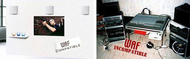 A gauche, une chaine home cinema sans fil apparent, à droite un système audio performant mais esthétiquement discutable