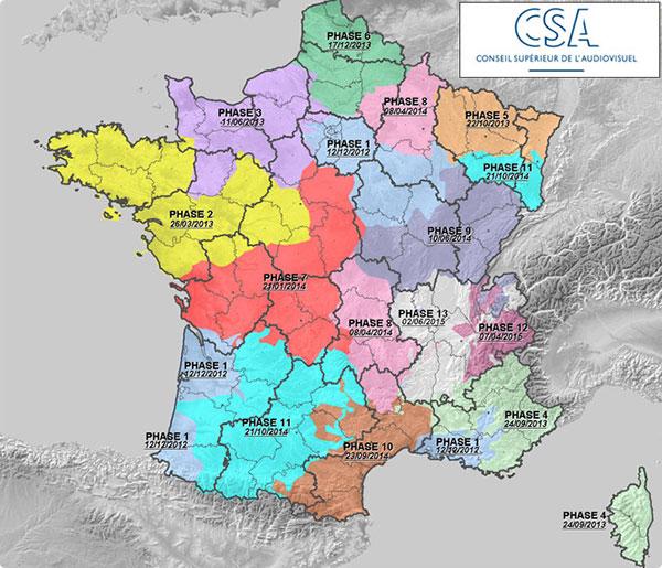 Carte de France du déploiement des 6 nouvelles chaînes de la TNT