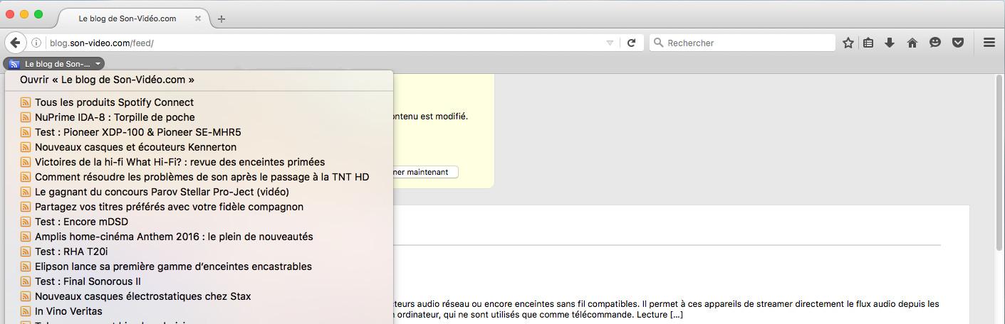 Lecture d'un flux RSS dans le navigateur Firefox