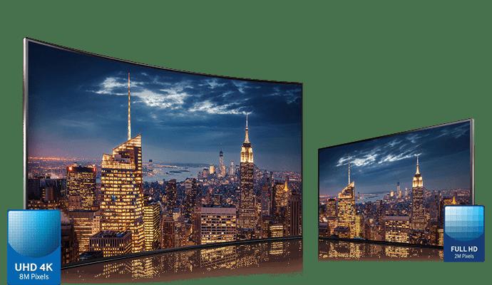 Samsung, comparaison Full HD / UHD