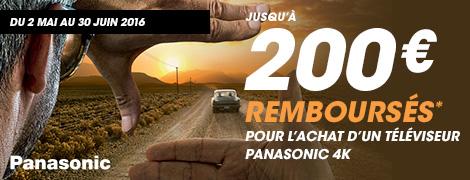 Du 2 mai au 30 juin 2016, Panasonic vous rembourse jusqu'à 200 € pour l'achat d'un téléviseur UHD-4K parmi les références suivantes, et double le montant du remboursement pour l'achat d'un lecteur Blu-ray UHD Panasonic DMP-UB900