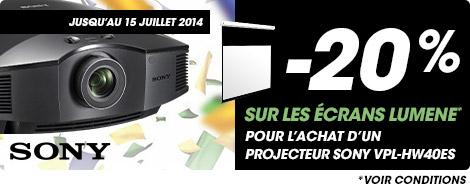 Jusqu'au 15 juillet 2014 -20% sur les écrans Lumene pour l'achat d'un projecteur Sony VPL-HW40ES