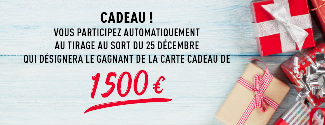 Cadeau! Vous participez automatiquement au tirage au sort du 25décembre qui désignera le gagnant de la carte cadeau de 1500€!