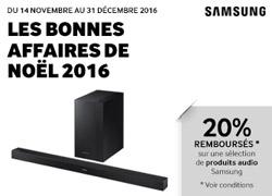 Offre de remboursement Samsung Audio - Les bonnes affaires de Noël