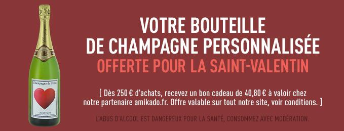 Offre Saint-Valentin : Votre bouteille de champagne offerte !