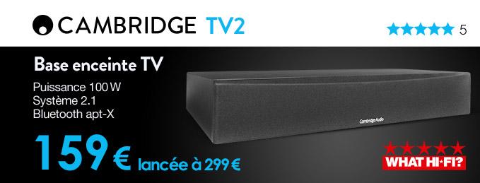 Cambridge Audio TV2 : Base enceinte TV 2.1 Bluetooth